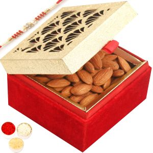 Rakhi Dryfruits - Golden Lazer Almond Box With Red Pearl Rakhi