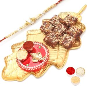 Healthy Hampers - Gold Leaf Sugarfree Dates And Figs Bites With Mini Pooja Thali Hamper With Pearl Rakhi