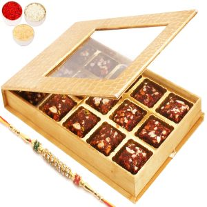 Rakhi Healthy Hampers - Golden Leather Finish 15 PCs Sugarfree Dates And Figs Bites Box With Diamond Rakhi