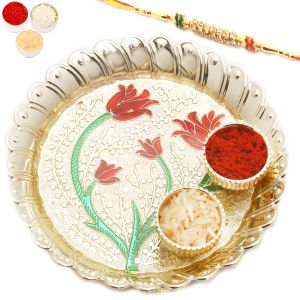 Rakhis & Gifts (Abroad) - Rakhi Gifts For Abroad - Golden Leaves of Love Pooja Thali
