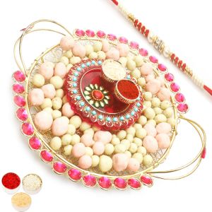 Rakhi Chocolates - Golden Mesh Chocolate Coated Fruit Tray With Mini Pooja Thali With Red Pearl Rakhi