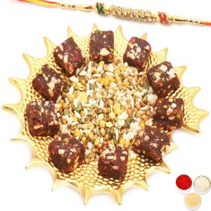 Rakhi Healthy Hampers - Golden Shell Healthy Dates Figs Bites And Roasted Protein Mix Namkeen Platter With Diamond Rakhi