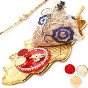 Rakhi Hampers - Gold Leaf Almonds Pouch Platter With Mini Pooja Thali Hamper With Pearl Rakhi