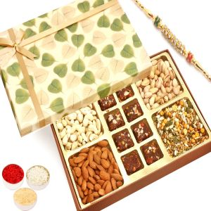 Rakhi Healthy Hampers - Green Leaf Almonds, Cashews, Pistachios, Roasted Protein Mix And 8 PCs Sugarfree Figs And Dates Bites With Diamond Rakhi