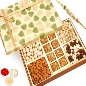 Rakhi Gift Hampers (for Brothers in India) - Rakhi Hampers - Green Leaf Almonds, Pistachios, Nutties, Fruit Coated Chocolates and 8 pcs Roasted Almond Bites Box with Diamond Rakhi