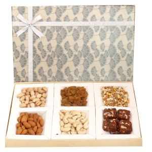 Rakhi Healthy Hampers - Grey 6 Part Assorted Dryfruits, Sugarfree Figs And Dates Bites And Roasted Namkeen Box With Diamond Rakhi
