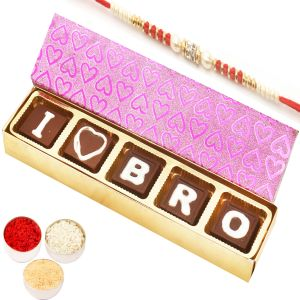 Rakhi Chocolates - I Love Bro Chocolates Gift Box With Red Pearl Rakhi