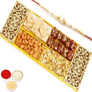 Rakhi Healthy Hampers - Lazer Almonds, Roasted Protein Namkeen, Granola Bars And Sugarfree Dates Figs Bites Box With Pearl Rakhi