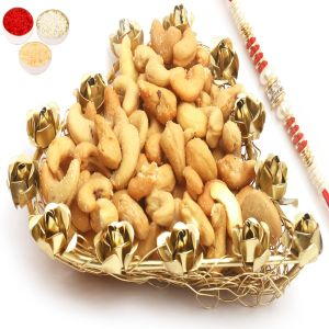 Rakhi Dryfruits - Mesh Heart Roasted Cashew Tray With Red Pearl Rakhi