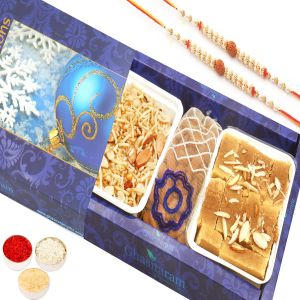 Rakhi Gifts For Abroad - Mysore Pak , Namkeen And Almonds Pouch Hamper With 2 Rudraksh Rakhis