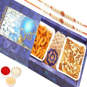 Rakhi Gifts For Abroad - Mysore Pak , Soya Sticks And Almonds Pouch Hamper With 2 Rudraksh Rakhis