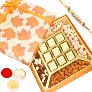 Rakhi Hampers - Orange Print Almonds, Pistachios, Nutties, Fruit Coated Chocolates And 9 PCs Chocolate Box With Diamond Rakhi