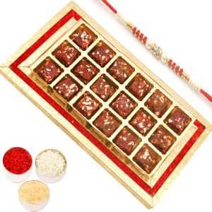 Rakhi Healthy Hampers - Red And Gold Sugarfree Dates And Figs Bitestray With Red Pearl Rakhi