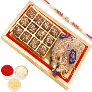 Rakhi Dryfruit Hampers - Red And Gold 8 PCs English Brittle Chocolates And Almond Box With Red Pearl Rakhi