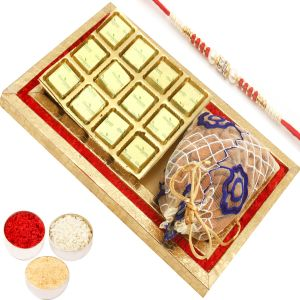 Rakhi Chocolate Hampers - Red And Gold 8 PCs Chocolates And Almond Pouch Tray With Red Pearl Rakhi