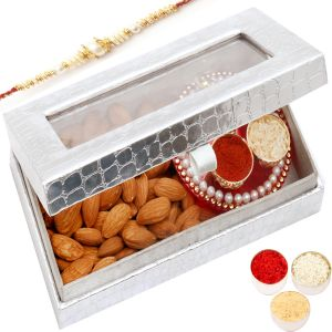 Rakhi Dryfruit Hampers - Silver Almonds With Mini Pooja Thali Box With Pearl Rakhi