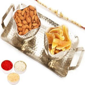 Rakhi Dryfruits - Silver Aluminium Almonds And Dried Mango Tray With Pearl Rakhi