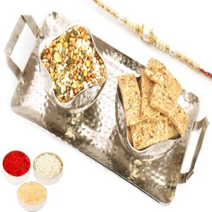 Rakhi Healthy Hampers - Silver Aluminium Granola Bars And Protein Mix Namkeen Tray With Pearl Rakhi