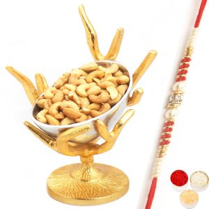 Rakhi Dryfruits - Silver Designer Tree Roasted Cashew Bowl With Red Pearl Rakhi