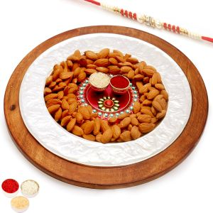 Rakhi Hampers - Silver Wooden Almond Platter With Mini Pooja Thali With Red Pearl Rakhi