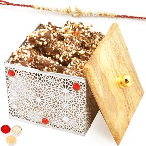 Rakhi Chocolates - Silver Wooden English Brittle Chocolate Box With Pearl Rakhi