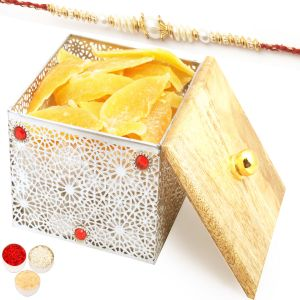 Rakhi Dryfruits - Silver Wooden Sun Dried Mango Box With Pearl Rakhi