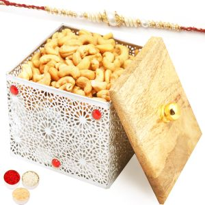 Rakhi Dryfruits - Silver Wooden Roasted Cashew Box With Pearl Rakhi