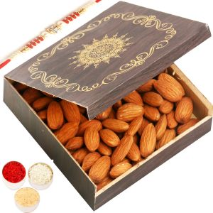 Rakhi Dryfruits - Small Wooden Almond Box With Red Pearl Rakhi