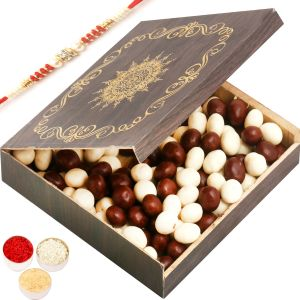 Rakhi Chocolates - Small Wooden Nutties Box With Red Pearl Rakhi