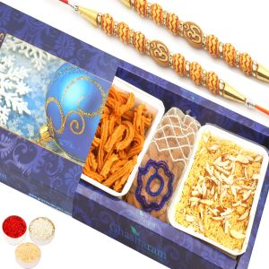 Rakhi Sweet Hampers - Soan Papdi , Soya Sticks And Almonds Pouch Hamper With 2 Om Rakhis