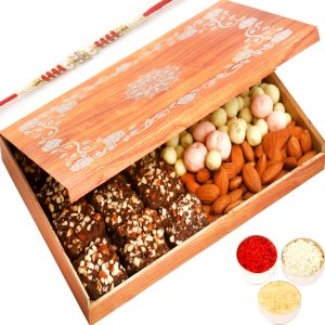 Rakhi Hampers - Wooden 12 PCs English Brittle Chocolates, Chocolate Coated Fruit And Almonds Box With Red Pearl Rakhi