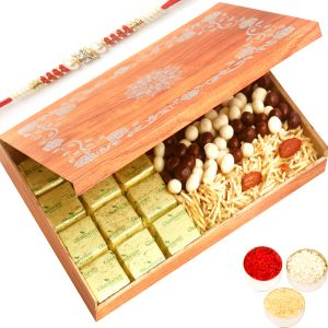 Rakhi Hampers - Wooden 12 PCs Chocolate, Nutties And Namkeen Box With Red Pearl Rakhi