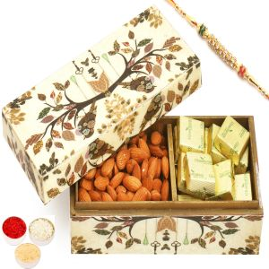 Rakhi Hampers - Wooden 2 Part Chocolate And Almonds Box With Diamond Rakhi