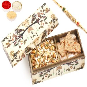 Rakhi Healthy Hampers - Wooden 2 Part Granola Bars And Protein Mix Namkeen Box With Diamond Rakhi