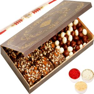 Rakhi Chocolate Hampers - Wooden 9 PCs English Brittle Chocolate And Nutties Box With Red Pearl Rakhi