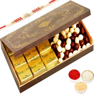 Rakhi Chocolate Hampers - Wooden 9 PCs Chocolate And Nutties Box With Red Pearl Rakhi