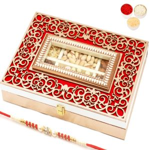 Rakhi Hampers - Wooden Lazer Red 6 Part Assorted Dryfruits, Nutties And Namkeen Box With Red Pearl Rakhi