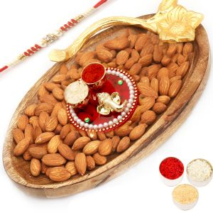 Rakhi Hampers - Wooden Almond Platter With Mini Pooja Thali With Red Pearl Rakhi