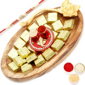 Rakhi Hampers - Wooden Chocolate Platter With Mini Pooja Thali With Red Pearl Rakhi
