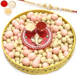Rakhi Chocolates - Yellow Metal Chocolate Coated Fruit Basket With Mini Pooja Thali With Pearl Rakhi