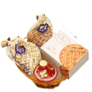 Diwali Hampers - Gold Wired Basket With Mysore Pak, Almonds, Namkeen Pouch With Mini Pooja Thali