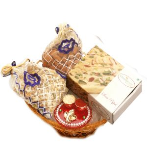 Diwali Hampers - Gold Wired Basket With Soan Papdi, Almonds, Namkeen Pouch With Mini Pooja Thali