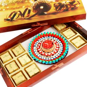 Chocolates- Brown Sugarfree Chocolate Hamper With Muticolour Floater