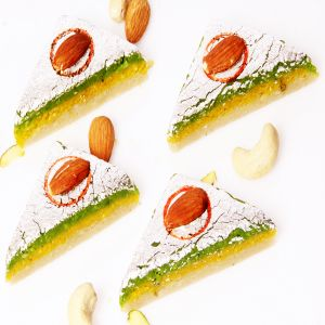 Sweets-ghasitaram Gifts Sugarfree Kaju Kesar Pista Triangles