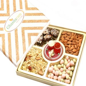 Diwali Hampers - Ghasitaram Special Almonds, Namkeen, Chocolate Coated Fruit And English Brittle Chocolate Box With Mini Pooja Thali