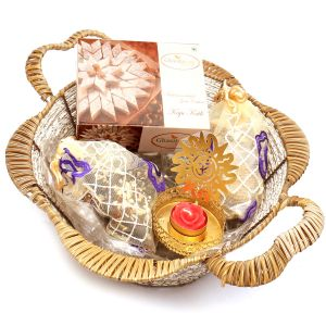 Diwali Hampers - Brown Basket With Kaju Katli, English Brittles Chocolates, Roasted Almond Bites Pouch With Om T- Lite