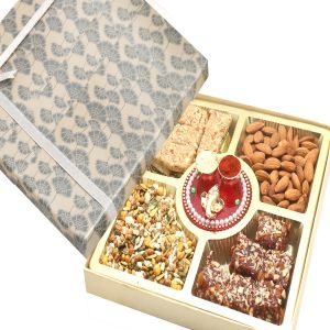 Bhaidooj Gifts - Hampers Grey Print Almonds, Roasted Protein Namkeen, Granola Bars And Dates Figs Bites Box With Mini Pooja Thali