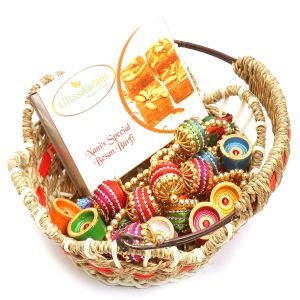 Hampers - Jute Cane Basket With Nani