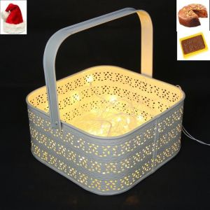 Christmas Home Furnishings - Lights- White Metal Light  Basket