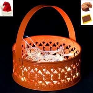 Christmas Home Furnishings - Christmas Gifts Lights -Orange Metal Light Basket